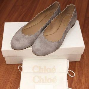 Chloe Lauren Suede Scalloped Ballet Flats